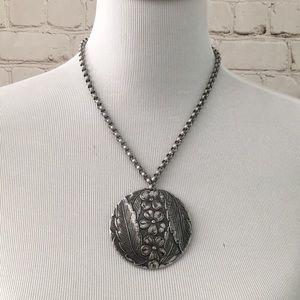 Aluminum Floral Pendant Statement Necklace